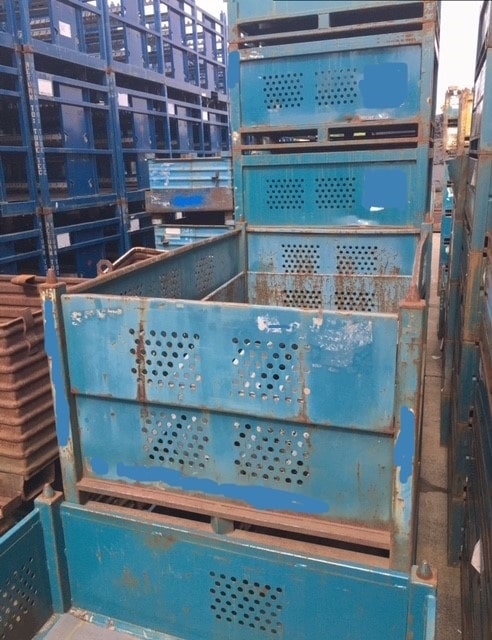 used solid steel vented bins for sale